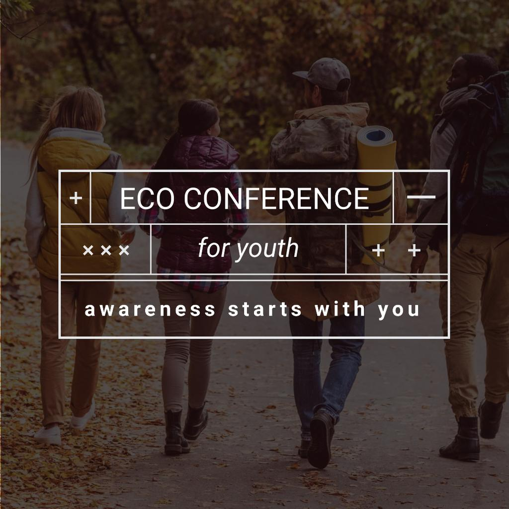 Eco Conference Announcement People on a Walk Outdoors Instagram Modelo de Design