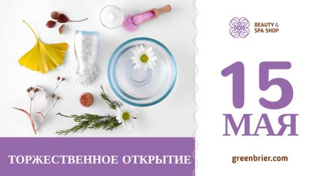 Beauty Spa Shop Opening Ad with Natural Skincare Products FB event cover – шаблон для дизайна