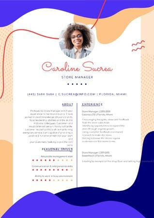 Store manager skills and experience Resume Design Template