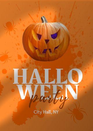 Halloween Party Announcement with Scary Pumpkin Invitation – шаблон для дизайна