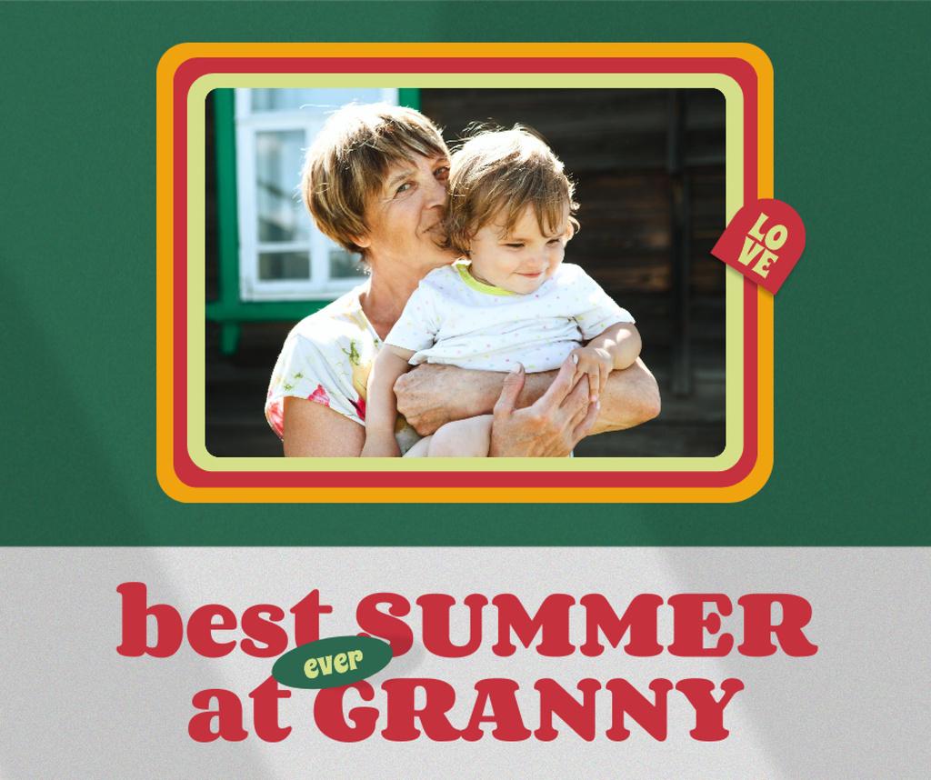 Happy Grandmother with her Grandson Facebook Modelo de Design