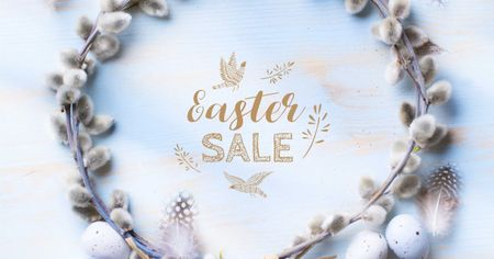 Easter Sale in Willow Wreath Facebook ADデザインテンプレート