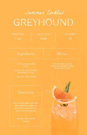 Ontwerpsjabloon van Recipe Card van Summer Cocktail with Grapefruit in Glass