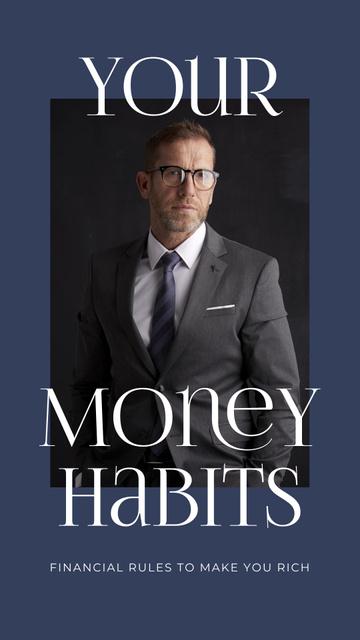 Confident Businessman for Money Habits Instagram Story Modelo de Design