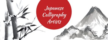 Ontwerpsjabloon van Facebook cover van Calligraphy Learning with Mountains Illustration