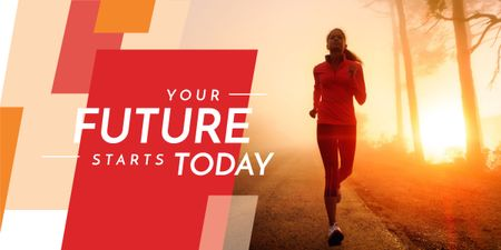 Plantilla de diseño de Motivational phrase and running young woman Image