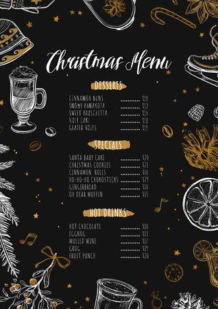 Christmas dishes course Menuデザインテンプレート