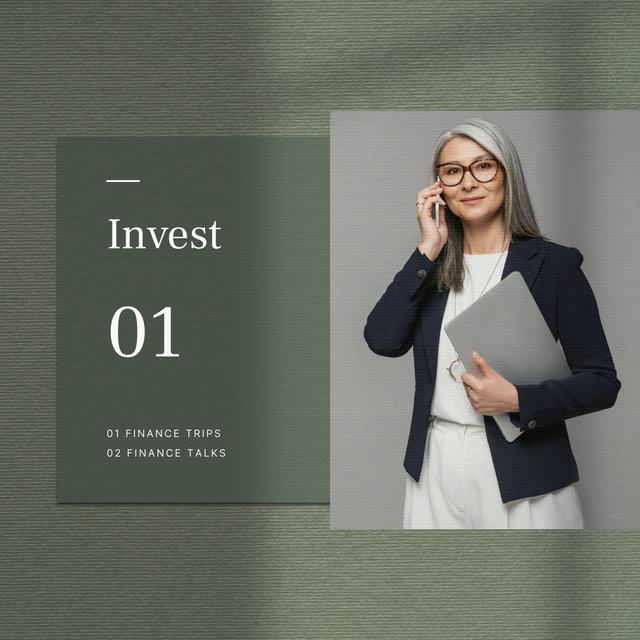 Confident Businesswoman for investment concept Instagram tervezősablon