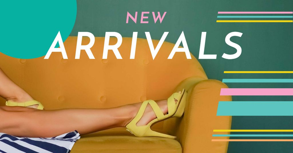 Fashion Ad with Woman on Sofa in Stylish Sandals Facebook ADデザインテンプレート