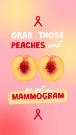 Designvorlage Breast Cancer Awareness with Peaches and Ribbon für Instagram Video Story