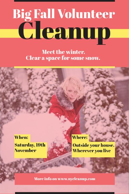 Woman at Winter Volunteer clean up Tumblr Design Template
