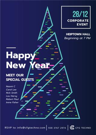 Ontwerpsjabloon van Poster van New Year Invitation with Stylized Christmas tree