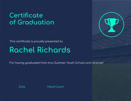 Ontwerpsjabloon van Certificate van Summer School Graduation with Cup on Football field