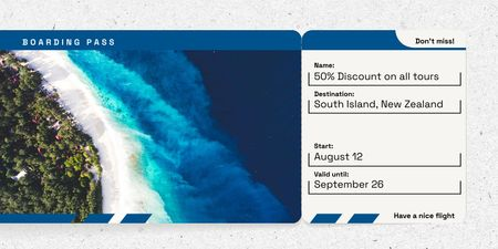 Designvorlage Boarding Pass with Scenic Coastline Landscape für Twitter
