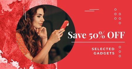 Gadgets Sale with Woman holding Phone Facebook AD Modelo de Design