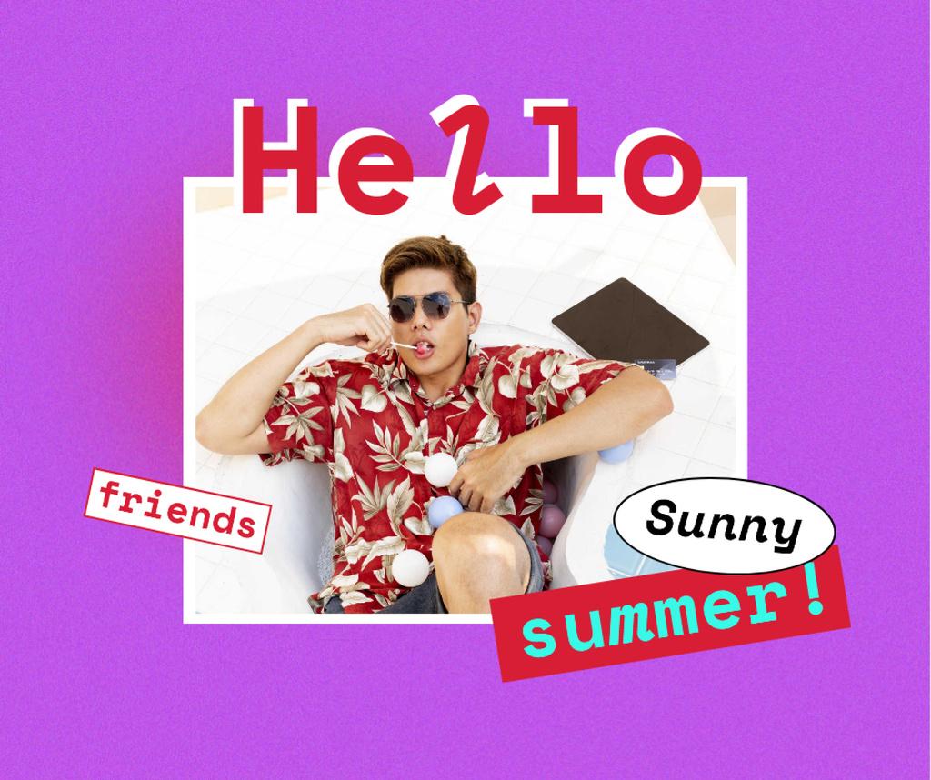 Summer Inspiration with Young Man in Bright Shirt Facebook Šablona návrhu