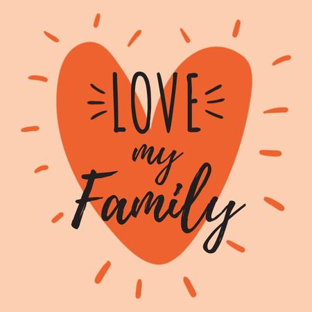Ontwerpsjabloon van Instagram van Family Day bright Inspiration with Heart