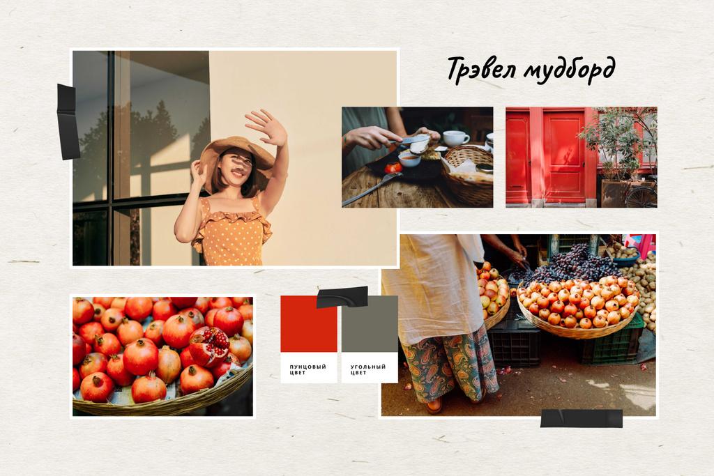 Travel inspiration with local Market Mood Board – шаблон для дизайна