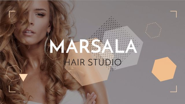 Hair Studio Ad Woman with Blonde Hair Title Design Template