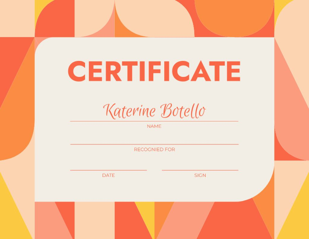 Education Achievement Award on Bright Pattern Certificate Tasarım Şablonu