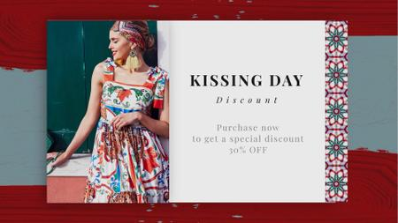 Designvorlage Kissing Day Sale Woman in Bright Dress für Full HD video