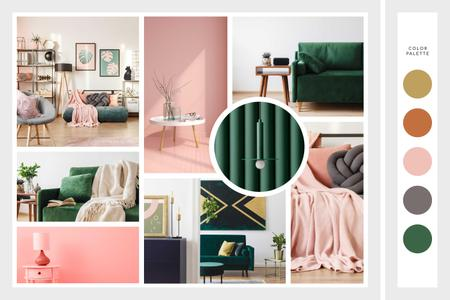 Cozy interior in pink and green Mood Boardデザインテンプレート