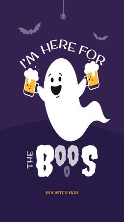 Ontwerpsjabloon van Instagram Story van Funny Ghost holding Beer Glasses