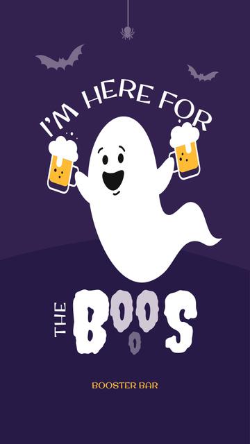 Funny Ghost holding Beer Glasses Instagram Story Tasarım Şablonu