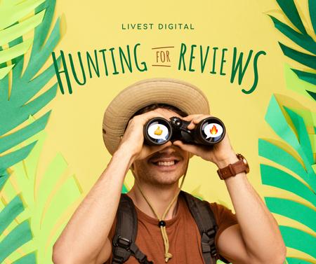Vacancy Ad with Man looking at Binoculars Facebook – шаблон для дизайну