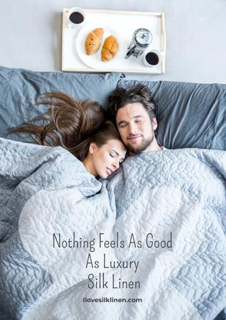 Plantilla de diseño de Luxury silk linen with Happy Couple in bed Poster