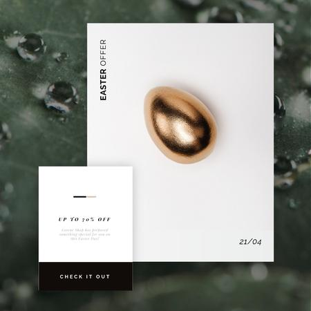 Golden Easter egg Animated Post Design Template