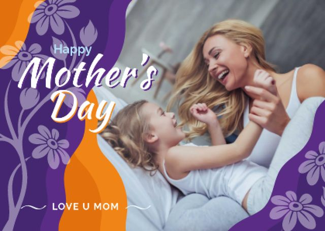 Designvorlage Mother and daughter laughing on Mother's Day für Card