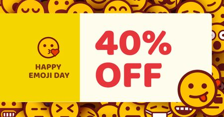 Ontwerpsjabloon van Facebook AD van Emoji Day Discount Offer