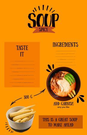 Template di design Delicious Spicy Soup in Bowl Recipe Card