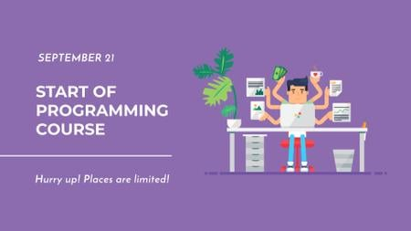 Programming Course Ad with Programmer FB event cover Modelo de Design