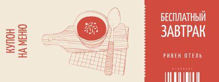 Meal Offer with Soup Illustration Coupon – шаблон для дизайна