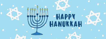 Template di design Hanukkah Greeting with Menorah and Star of David Facebook cover