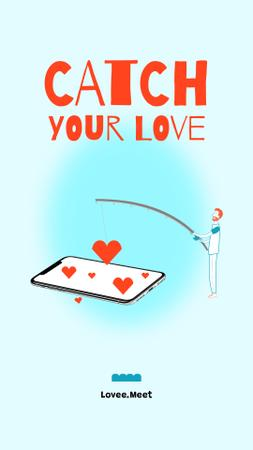 Designvorlage Dating App promotion with man fishing für Instagram Story