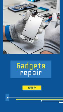 Gadgets Repair Ad with Technician Instagram Story Modelo de Design