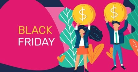Ontwerpsjabloon van Facebook AD van Black Friday Ad with People holding Coins