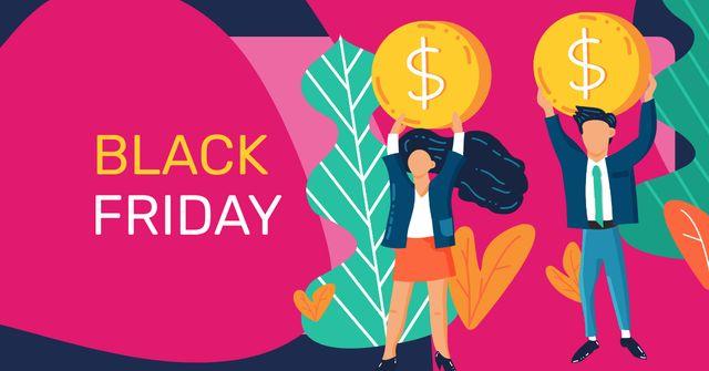 Plantilla de diseño de Black Friday Ad with People holding Coins Facebook AD