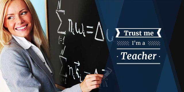 Female teacher writing on chalkboard  Imageデザインテンプレート