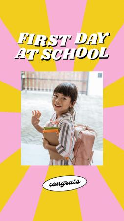 Plantilla de diseño de Back to School with Cute Pupil Girl with Backpack Instagram Story