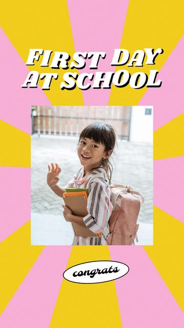 Modèle de visuel Back to School with Cute Pupil Girl with Backpack - Instagram Story
