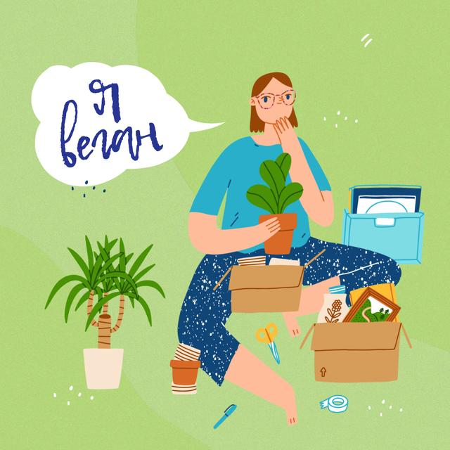 Green Lifestyle Concept with Vegan Girl Instagram – шаблон для дизайна