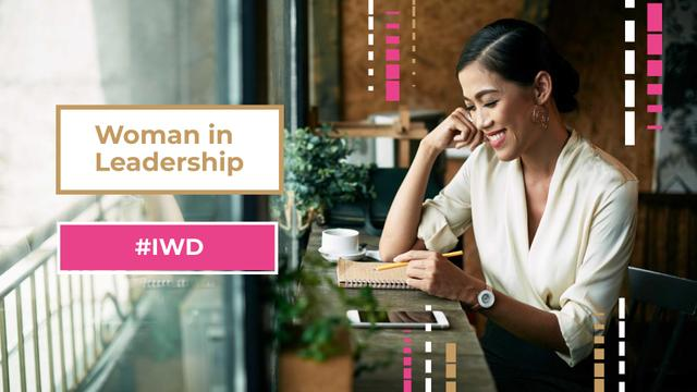 Women's Day Event Announcement with Confident Businesswoman FB event cover – шаблон для дизайна