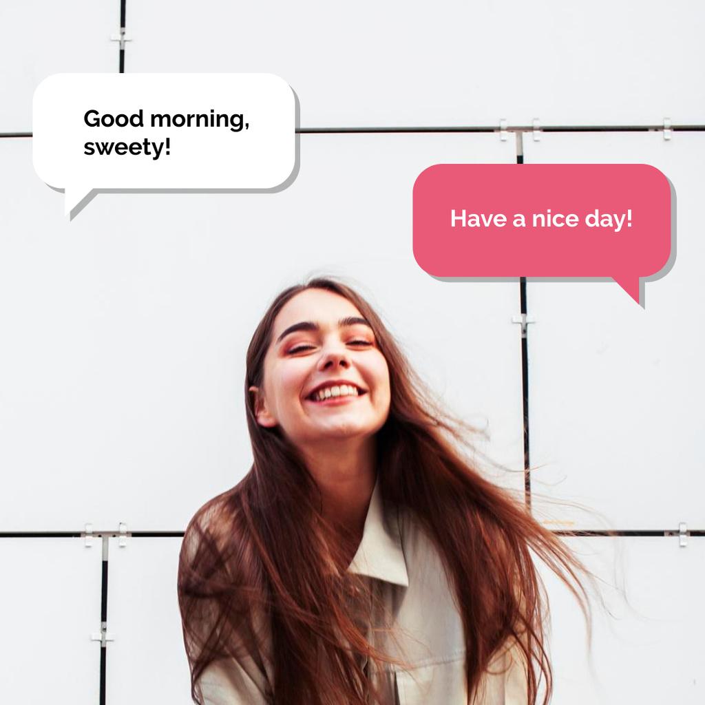 Smiling Girl with inspiring Messages — Crear un diseño