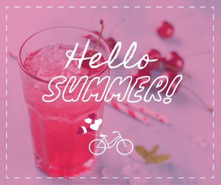 Template di design Summer Drink with Red Cherries Facebook