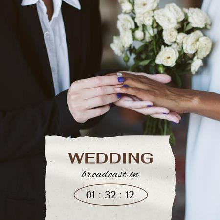 Wedding Broadcast Announcement with Couple Exchanging Rings Instagram – шаблон для дизайну