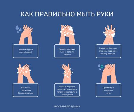 #SafeHands Coronavirus awareness with Hand Washing rules Facebook – шаблон для дизайна